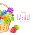 Easter eggs with flowers in bucket vector