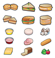 Food sandwiches and ingredients set vector