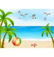 A beach with birds vector