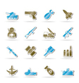 Army and arms icons vector