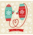 Love mittens with rope in a form of heart vector
