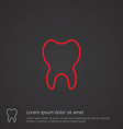 Tooth outline symbol red on dark background logo vector
