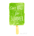 Watercolor cream poster with can t wait for summer vector