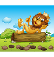 A lion king above a trunk vector