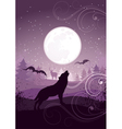 Wolf howling at full moon vector