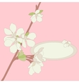 Apple blossom frame background vector