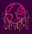 Earth on abstract colorful geometric dark vector