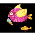 Cartoon fishes characters icecream gourmand vector