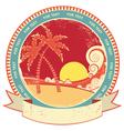 Sea waves and island vintage vector