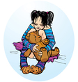 Cute little girl dressing funny slippers with tedd vector