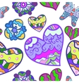 Funny seamless background with heart butterfly and vector