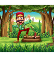 A forest with a happy lumberjack vector