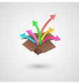 Paper box and arrows vector
