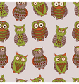 Colorful seamless pattern with different owls vector