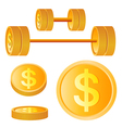 Dumbbell of golden discs with dollar vector