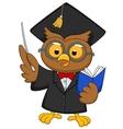 Cartoon owl wearing a graduation uniform giving a vector