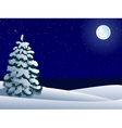 Night winter landscape with lonely tree and moon vector