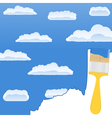 Yellow brush drawing a sky with clouds vector
