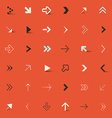 Arrows set on red retro background vector