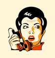 Retro phone woman vector