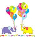 Happy birthday invitation with cartoon elephants vector