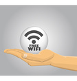 Hand holding a free wifi ball vector