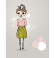 Vintage card with cute hand drawn girl vector