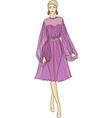 Fashion sketch of woman in chiffon dress vector