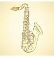 Sketch saxophone musical instrument vector