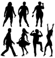 Dancing people - few human silhouettes vector