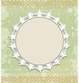 Vintage round frame on floral background vector