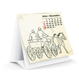 December 2014 desk horse calendar - vector