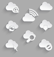 Cloud icon set white plastic e mail vector