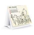 November 2014 desk horse calendar - vector