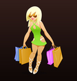 Shopping girl with packages vector