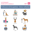 Professions and occupations coloured icon set vector