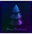 Blue shining glitter christmas tree greeting card vector