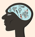 Man head with cogs and workers vector