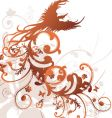 Tribal floral bird design vector