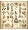Sketch doodle icon collection vector
