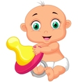 Baby cartoon holding pacifier vector