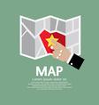 Paper map in hand vector