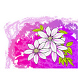 White flower on the purple background vector