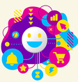 Smile on abstract colorful spotted background with vector