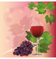 Wine glass and black grape background vector