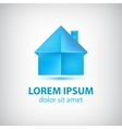 Paper origami blue house icon vector