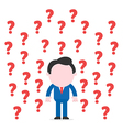 Businessman surrounded by question marks vector
