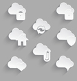 Cloud icon set white plastic lock vector