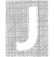Freehand typography letter j vector