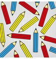Pattern of colored pencils on background squares n vector